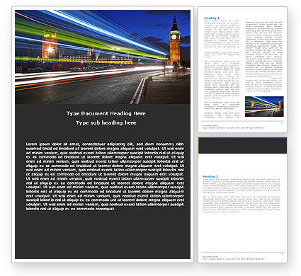 London Night Word Template, 05241, Flags/International — PoweredTemplate.com