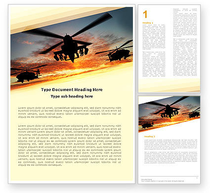 Attack Helicopter Word Template, 05247, Military — PoweredTemplate.com