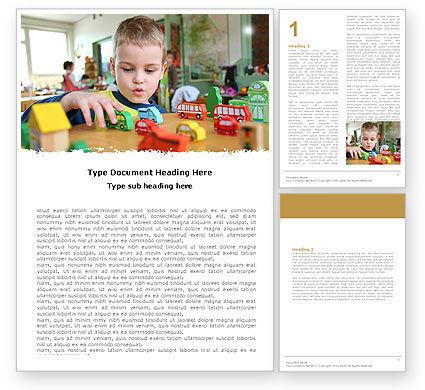 Education & Training: Kid Playing In Kindergarten Word Template #05252