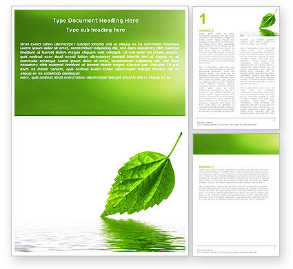 Green Leaf Falling Word Template