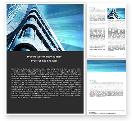 Blue Colored Skyscraper Word Template, 05261, Construction — PoweredTemplate.com