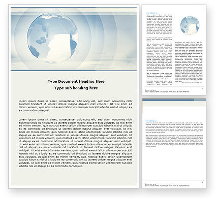 Global: Crystal Globe On The Light Blue Word Template #05263