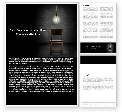 Dark Room With Chair And Lump Word Template, 05264, Consulting — PoweredTemplate.com