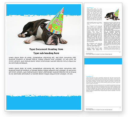 Happy Birthday Puppy Word Template, 05265, Holiday/Special Occasion — PoweredTemplate.com