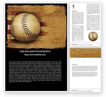 Sports: Amerikaanse Honkbal Word Template #05296