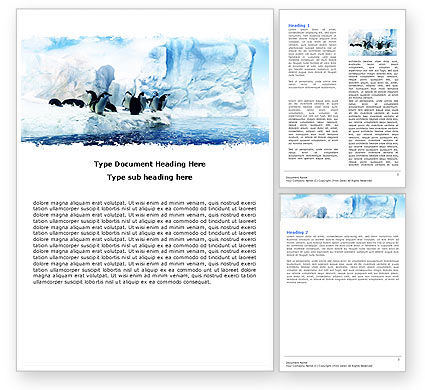 Nature & Environment: Penguins On The Iceberg Word Template #05353