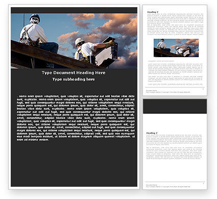 Construction: Builders On Roof Word Template #05370