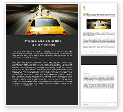 City Taxi Word Template, 05379, Cars/Transportation — PoweredTemplate.com