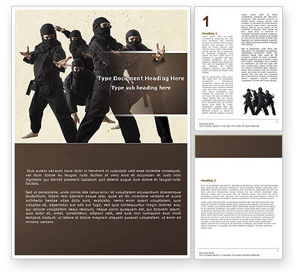Ninja Word Template, 05381, Sports — PoweredTemplate.com