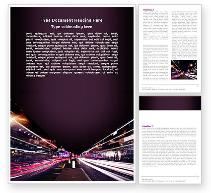 Cars/Transportation: Night Photography Word Template #05398