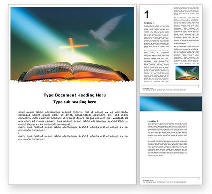 Religious/Spiritual: Bible With Holy Dove Word Template #05408