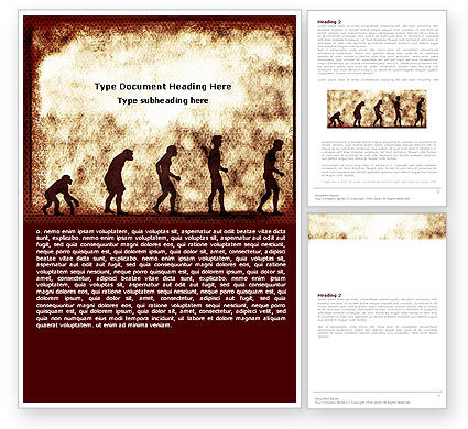 Human Development From Ape Word Template, 05415, Consulting — PoweredTemplate.com