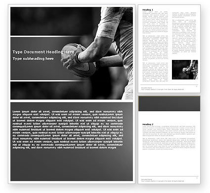 Rugby Football Word Template, 05421, Sports — PoweredTemplate.com