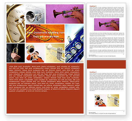 Art & Entertainment: Trumpet Collage Word Template #05424