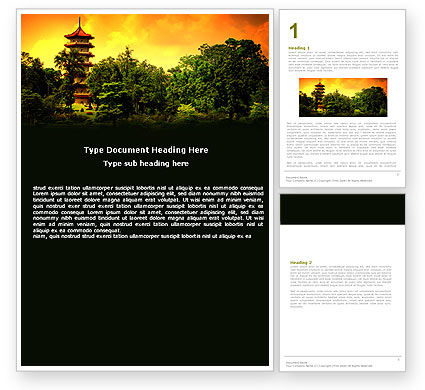 Pagoda Word Template, 05428, Flags/International — PoweredTemplate.com
