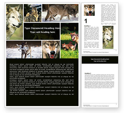 Wolf Word Template, 05439, Agriculture and Animals — PoweredTemplate.com