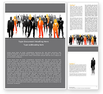 Business Personnel Silhouettes Word Template, 05442, Business — PoweredTemplate.com