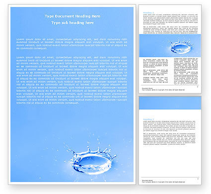 Blue Water Splash Word Template, 05444, Nature & Environment — PoweredTemplate.com