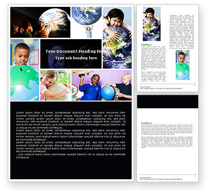 Pupils Of The World Word Template, 05451, Education & Training — PoweredTemplate.com