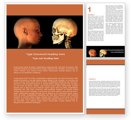 Medical: Human Skull Word Template #05452