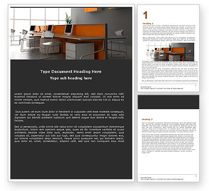 Office Open Space Word Template, 05473, Careers/Industry — PoweredTemplate.com