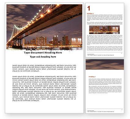 Manhattan Bridge Word Template, 05475, Construction — PoweredTemplate.com