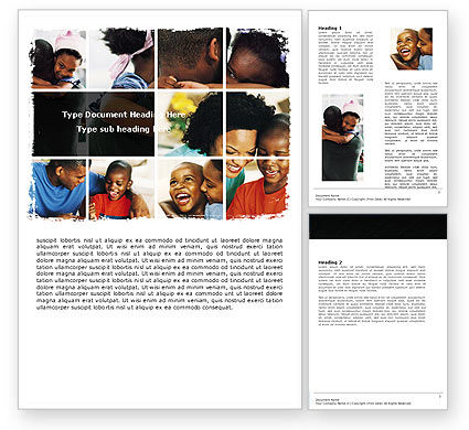 People: Happy Afro-american Family Word Template #05485