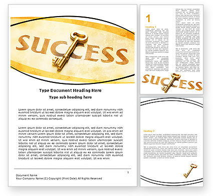 Key to Success Word Template, 05487, Business Concepts — PoweredTemplate.com