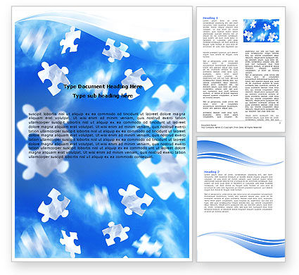 Business Concepts: Flying Puzzles Word Template #05495