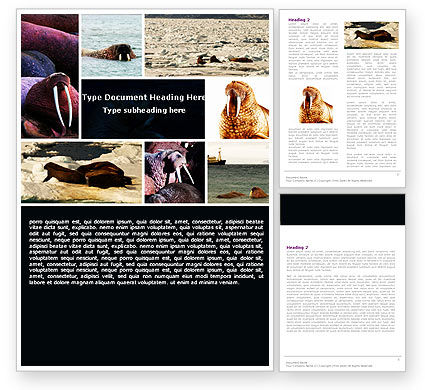 Free Walrus Word Template, 05511, Agriculture and Animals — PoweredTemplate.com