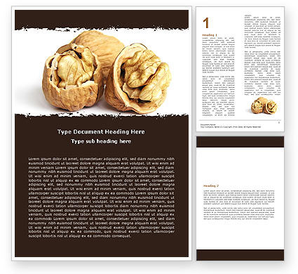 Walnut Word Template, 05520, Food & Beverage — PoweredTemplate.com