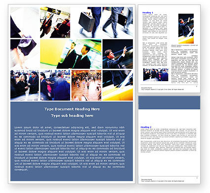 Movement In Business Center Word Template, 05544, Business — PoweredTemplate.com