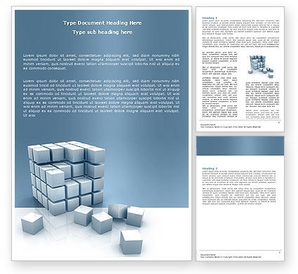 Cube Word Template, 05571, Construction — PoweredTemplate.com
