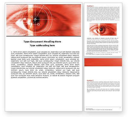 Technology, Science & Computers: Eye In Red Colors Word Template #05574