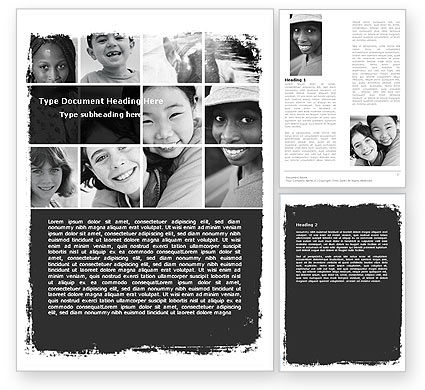 People: Kids In Black And White Colors Word Template #05591