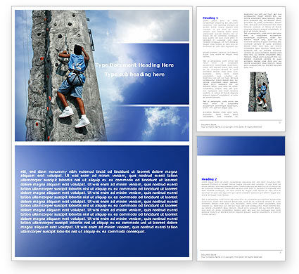 Business Concepts: Climber On A Climbing Wall Word Template #05592