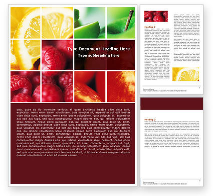 Agriculture and Animals: Fresh Fruits Word Template #05617