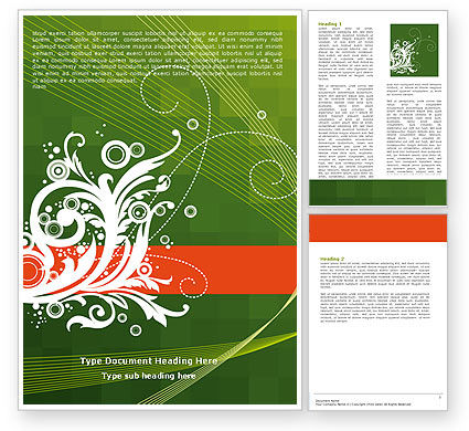 Art & Entertainment: Green Background With White Vegetative Decor Word Template #05621
