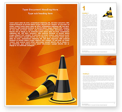 Construction: Traffic Cones Word Template #05631
