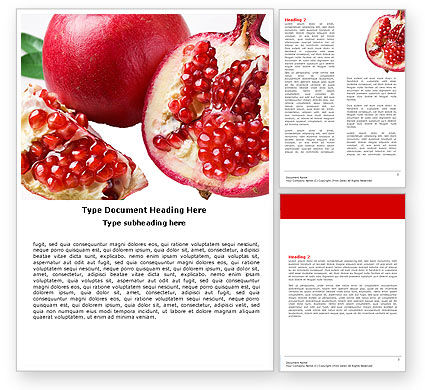 Pomegranate On A Green White Background Word Template, 05637, Agriculture and Animals — PoweredTemplate.com