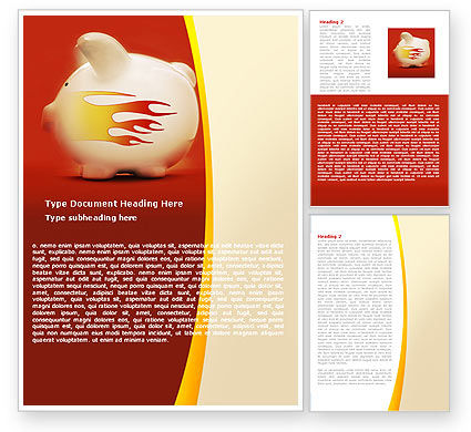 Financial/Accounting: Piggy Bank Word Template #05644