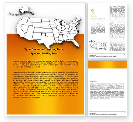 America: American States Word Template #05672