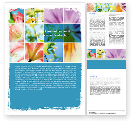 Holiday/Special Occasion: Free Blooming Lilies Word Template #05685