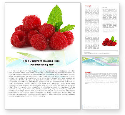 Food & Beverage: Raspberry With Green Leaf Word Template #05705