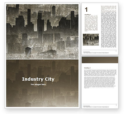 Dark City Word Template, 05728, Construction — PoweredTemplate.com