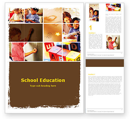 Primary School Word Template, 05730, Education & Training — PoweredTemplate.com
