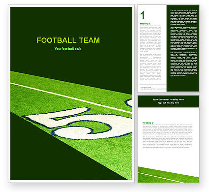 Sports: American Football Field Word Template #05744