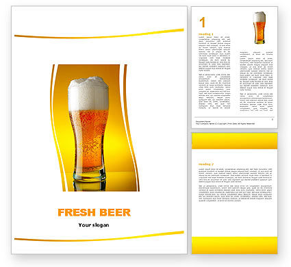 Goblet Of Beer Foaming Word Template, 05748, Food & Beverage — PoweredTemplate.com