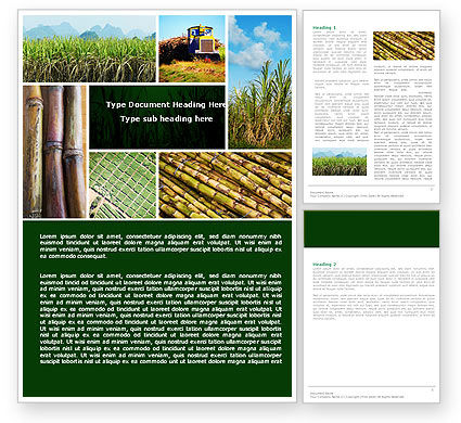 Sugar Cane Word Template, 05770, Agriculture and Animals — PoweredTemplate.com