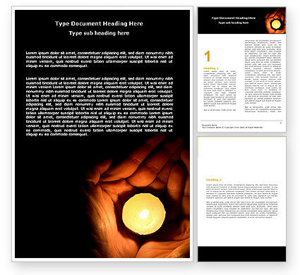 Candle In Hands Word Template, 05771, Religious/Spiritual — PoweredTemplate.com